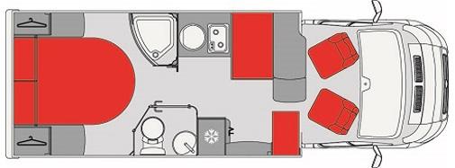 Camping car profilé de 7 m avec lit central (doc. Pilote P700 C)