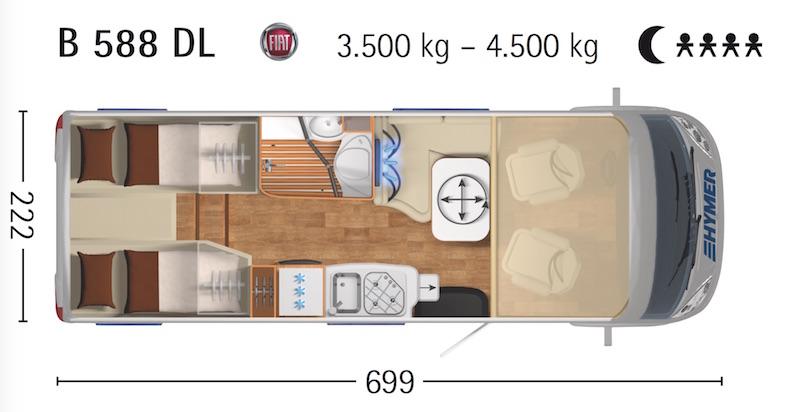 Plan Hymer Classe B 588 Dynamic Line - 4 places nuit